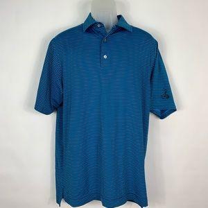 FootJoy Mens Golf Polo Shirt Blue & Black Medium